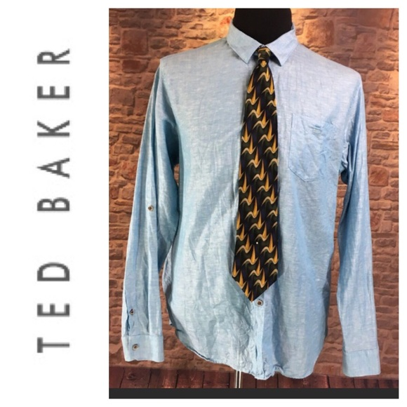 Mens Ted Baker Sky Blue Dress Shirt Size 6